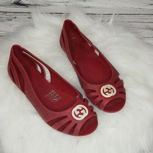 Gucci kids slip on rubber ballet flats sz 13.5